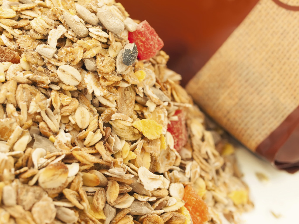 Delicious and healthy wholegrain muesli breakfast, with lots of
