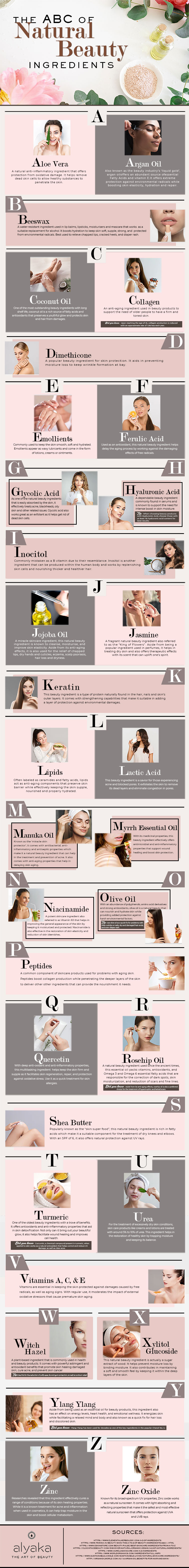 The ABC of Natural Beauty Ingredients Infographics