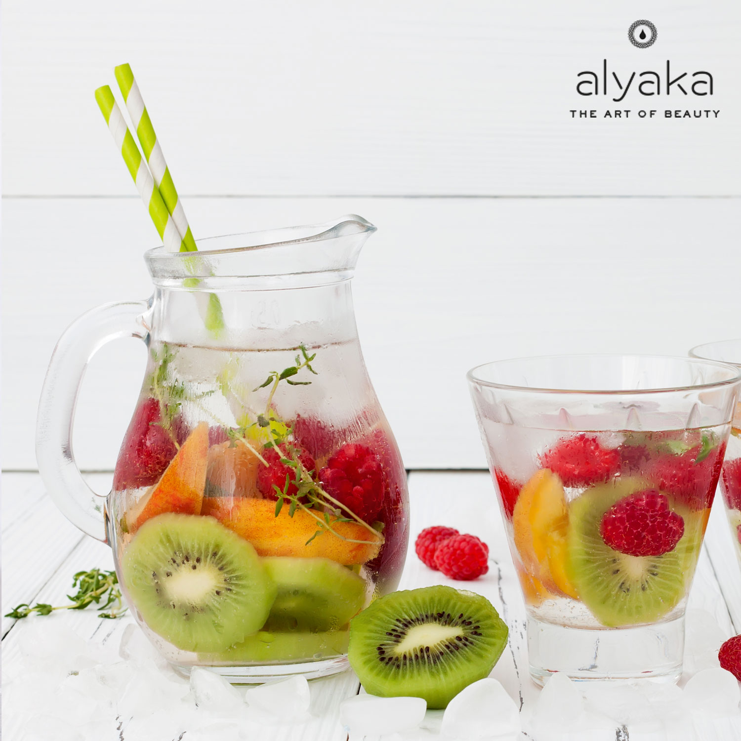 Raspberry, Kiwi and Peach Water