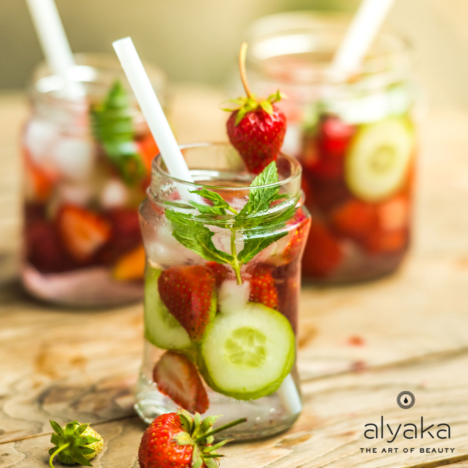 Strawberry, Cucumber, and Basil Water
