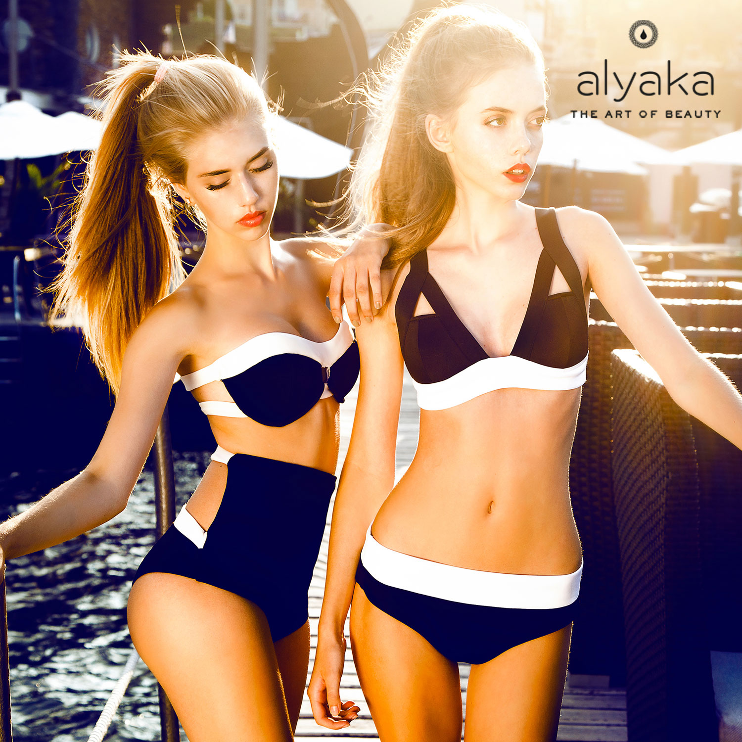 Two-Tone Trendy Swimsuits