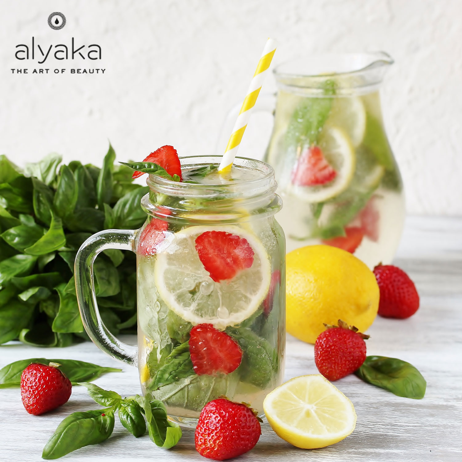 Strawberry, Lemon and Basil Water